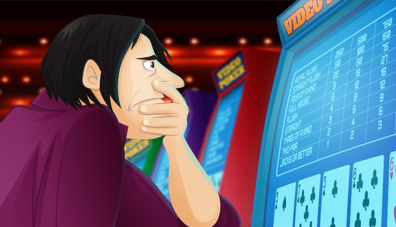 Frowning video poker player with a low pair of cards